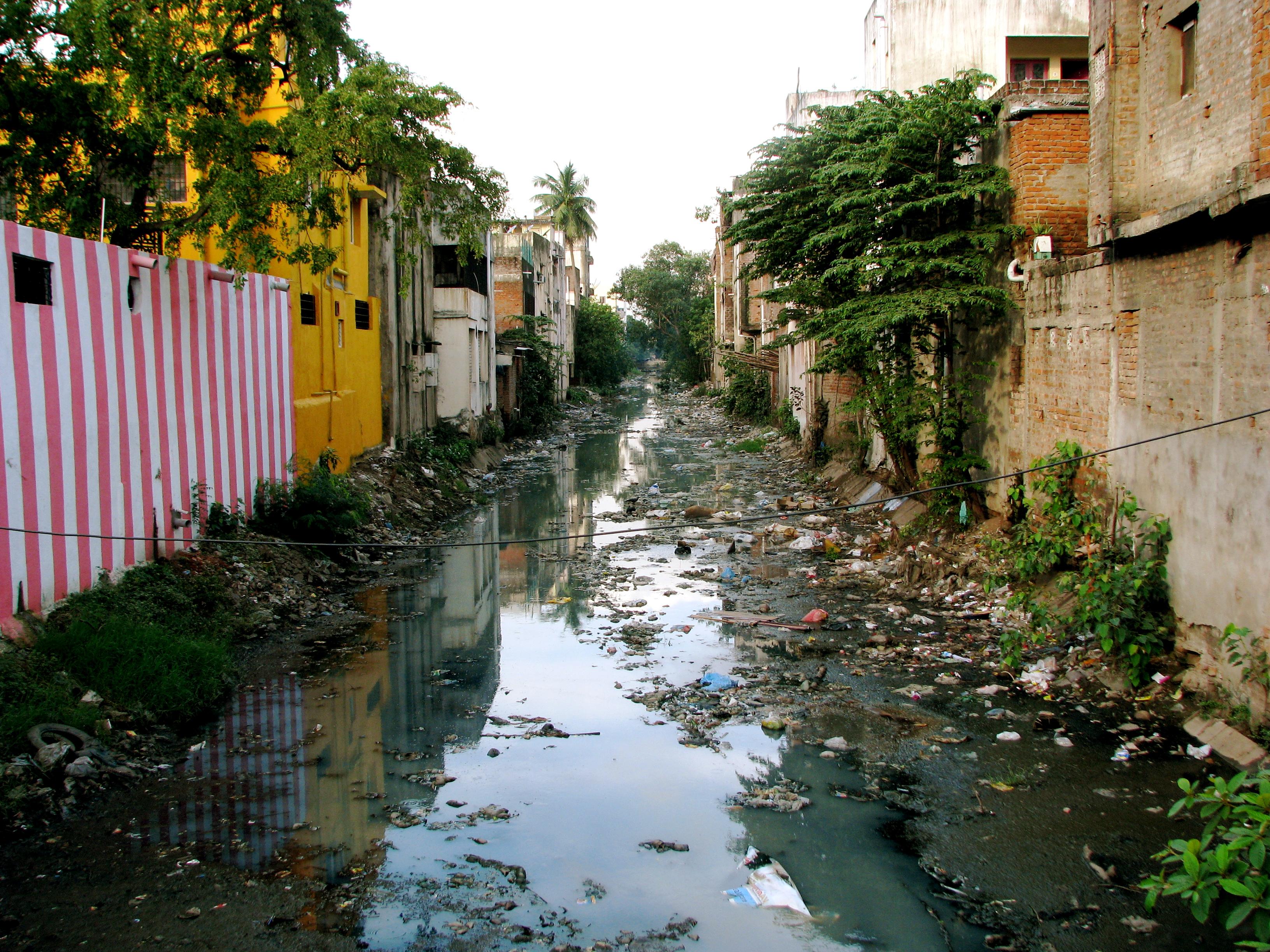 street chennai India monsoon