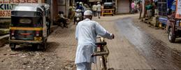 man in india with a bike