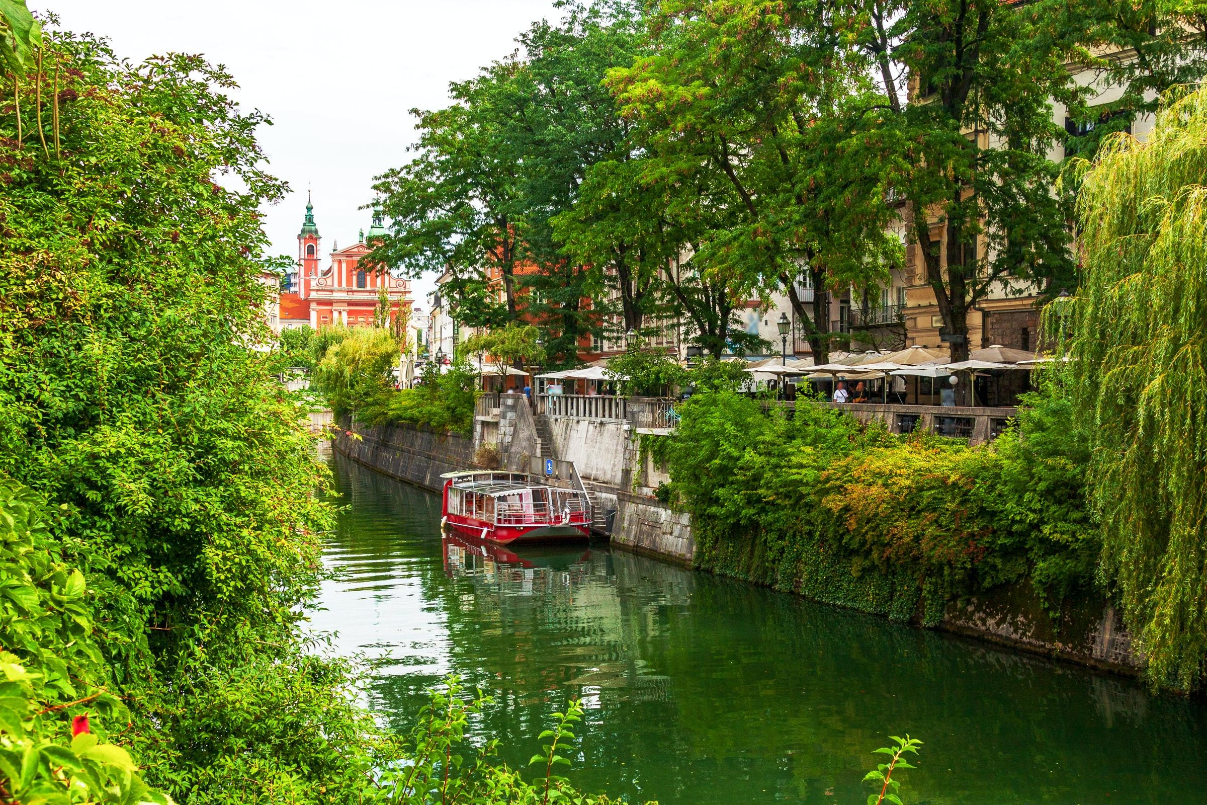 barco rojo en el río cerca de los árboles